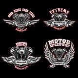 Reeks malplaatjes van het fietserembleem met gevleugelde motorfietsmotoren Ontwerpelement voor embleem, etiket, embleem, teken, a vector illustratie