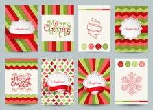 Reeks malplaatjes van Kerstmisbrochures Stock Afbeeldingen