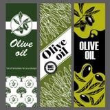 Reeks malplaatjes voor olijfolie Hand getrokken illustraties vector illustratie