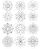 Reeks mandalas, Decoratieve ronde ornamenten royalty-vrije illustratie