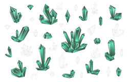 Reeks 18 manier kleurde helder diamanten hipster stijl Modieus kristal Royalty-vrije Stock Foto