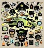 Reeks manierpictogrammen en symbolen met raceauto, hipster schedels Stock Fotografie