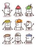 Reeks mannelijke avatars - hoeden en tradities Stock Fotografie