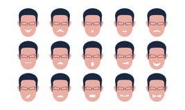 Reeks mannelijke gezichten met emoties Gebaar vector illustratie