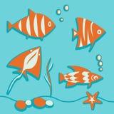 Reeks mariene elementenvissen, zeewier, bellen, straal Royalty-vrije Stock Foto's