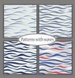 Reeks mariene verschillende naadloze patronen Vectorillustratie voor zeevaartontwerp Overzees Thema vector illustratie