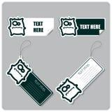 Reeks markeringen en stickers met monster. Stock Foto's