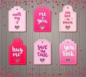 Reeks markeringen van de de daggift van Valentine ` s Stock Afbeelding