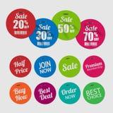 Reeks markeringen voor verkoop met nietjes Royalty-vrije Stock Foto's