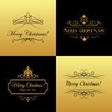 Reeks Marry Kerstmis en Gelukkige Nieuwjaarskaarten stock illustratie