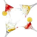 Reeks martini cocktails met plons en kalk Royalty-vrije Stock Fotografie
