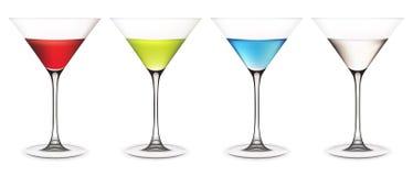 Reeks martini glazen royalty-vrije illustratie