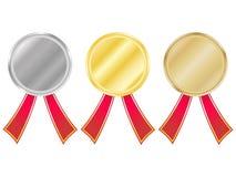Reeks medailles met linten vector illustratie