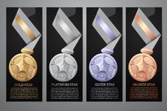 Reeks Medailles, zwarte banners Royalty-vrije Stock Fotografie
