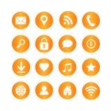 Reeks media en communicatie vectorpictogrammen op oranje cirkelknopen Stock Afbeelding
