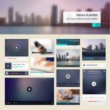 Reeks media spelers voor websites en mobiel websitesontwerp Stock Foto's
