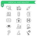 Reeks medische en gezonde pictogrammen op witte achtergrond Royalty-vrije Stock Foto's
