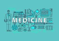 Reeks medische pictogrammen of geneeskundepunten Arts of pharmaceut, thermometer en pil of tablet, fles of buis, spuit en vector illustratie