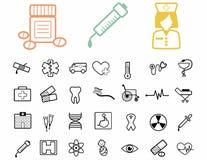 Reeks medische zwarte pictogrammen. Stock Afbeeldingen