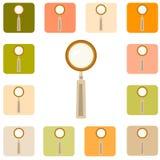 Reeks meer magnifier pictogrammen Royalty-vrije Stock Foto