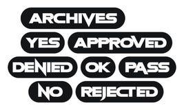 Reeks meeste gemeenschappelijke zwart-wit zegelwoorden, vector illustratie