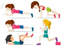Reeks meisjes die geschiktheidsoefening doen stock illustratie