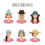 Reeks meisjes en hoeden Royalty-vrije Stock Afbeelding