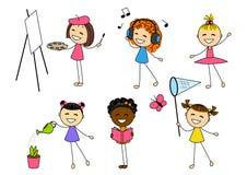 Reeks meisjes met verschillende hobby royalty-vrije illustratie