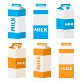 Reeks melk en sapkartonpakketten Vector stock illustratie