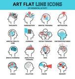 Reeks menselijke geestesactiviteitpictogrammen vector illustratie