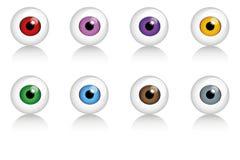 Reeks menselijke ogen in verschillende kleuren vector illustratie