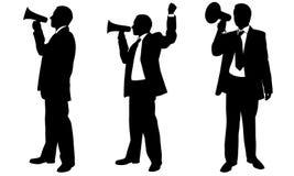 Reeks mensen met megafoons royalty-vrije illustratie