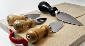 Reeks messen voor de Italiaanse tipical kaas van parmiggianoreggiano Royalty-vrije Stock Foto