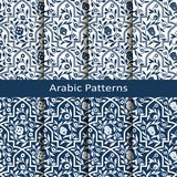 Reeks met acht vector Arabische patronen met bloemenornament ontwerp voor verpakking, binnenlandse textiel, royalty-vrije illustratie