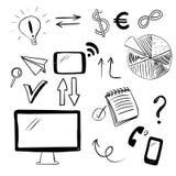 Reeks met bedrijfs en Webkrabbels Vector Illustratie