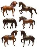 Reeks met beeldjes van paarden Stock Fotografie