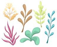 Reeks met bloemenelementen en bladeren Decoratieve elementen voor uw ontwerp Bladeren, wervelingen, bloemen Vlakke ontwerpstijl i vector illustratie