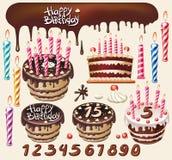 Reeks met chocoladecakes Royalty-vrije Stock Afbeeldingen