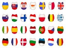 Reeks met de EU-Vlaggen als Schilden wordt gemaakt dat vector illustratie