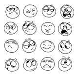 Reeks met de hand gemaakte emoticons, emotie, gevoel, ervaring voor pictogrammen royalty-vrije illustratie