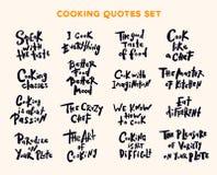 Reeks met de hand geschreven het van letters voorzien citaten en uitdrukkingen over het koken Se royalty-vrije illustratie