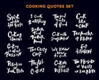 Reeks met de hand geschreven het van letters voorzien citaten en uitdrukkingen over het koken Se vector illustratie