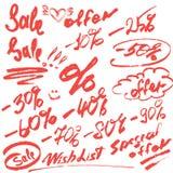 Reeks met de hand geschreven woordenverkoop, speciale aanbieding en cijfers 0-9% Stock Foto's