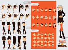 Reeks met de mooie aannemer van het vrouwenkarakter Hoofd en extra lichaamsdelenwijzigingen als tatoegeringen, implants Diverse e vector illustratie