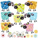 Reeks met decoratieve schapen Royalty-vrije Stock Afbeeldingen