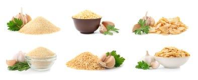 Reeks met droog aromatisch knoflook stock foto's