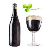 Reeks met fles, glas donker bier en de klaver, waterverfillustratie in hand-drawn stijl voor St Patrick ` s Dag stock foto's