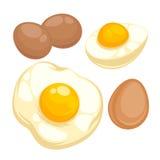 Reeks met gebraden, gekookte eieren stock illustratie