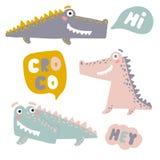Reeks met gelukkige pretkrokodillen Beeldverhaalalligators royalty-vrije illustratie