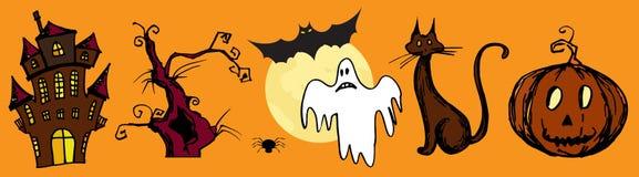 Reeks met Halloween-achtergrond Stock Foto